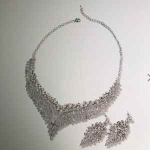Australian Crystal Earrings and Bib Necklace